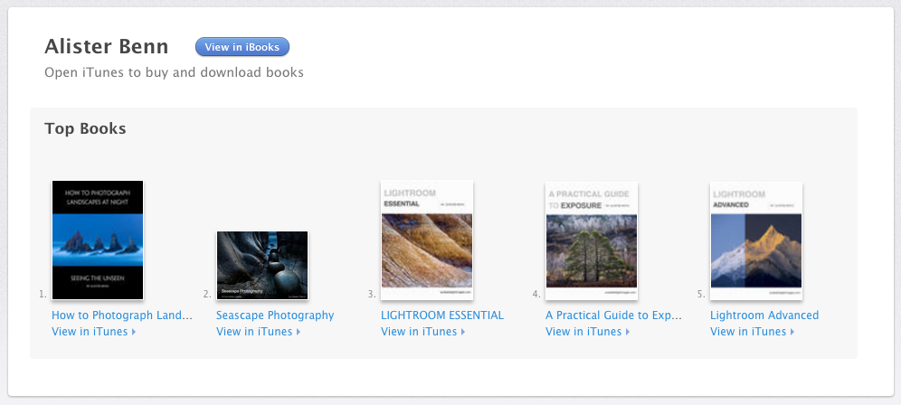 Photography eBooks on iTunes by Alister Benn